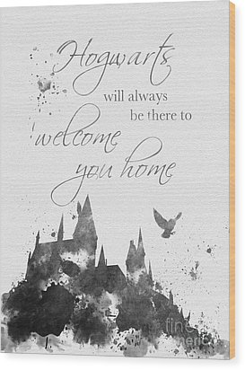 Hogwarts Quote Black And White Wood Print by Rebecca Jenkins