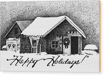Holiday Barn Wood Print by Joy Bradley