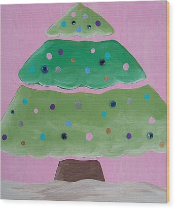Holiday Tree With Pink Wood Print by Tracie Davis
