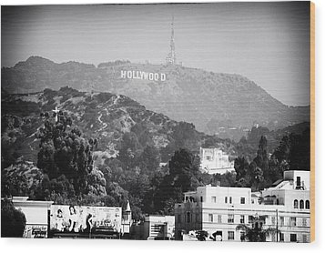 Hollywood Sign Wood Print by John Rizzuto