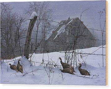 Home Through The Snow Wood Print by Ron Jones