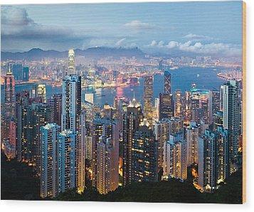 Hong Kong At Dusk Wood Print by Dave Bowman