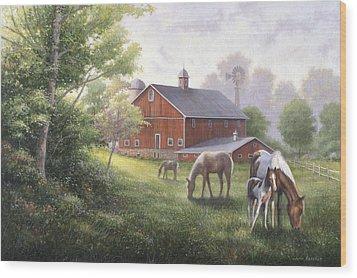 Horse Barn Wood Print by John Zaccheo