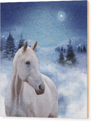 Horse In Winter Wood Print by Kenny Francis