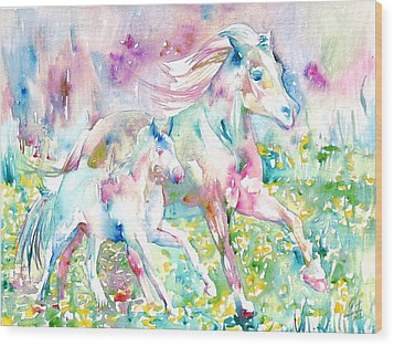 Horse Painting.17 Wood Print by Fabrizio Cassetta