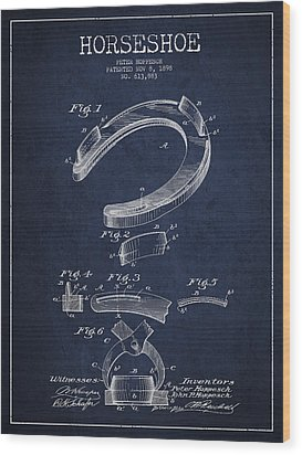 Horseshoe Patent Drawing From 1898 Wood Print by Aged Pixel