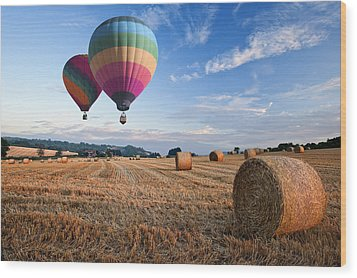 Hot Air Balloons Over Hay Bales Sunset Landscape Wood Print by Matthew Gibson