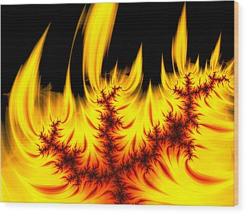 Hot Orange And Yellow Fractal Fire Wood Print by Matthias Hauser