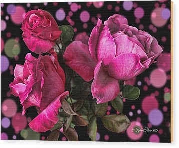 Hot Pink Trio Wood Print by Sylvia Thornton