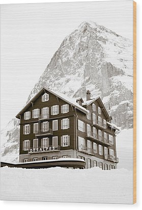 Hotel Des Alpes And Eiger North Face Wood Print by Frank Tschakert