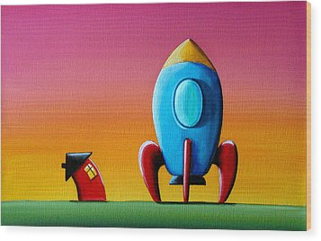 House Builds A Rocketship Wood Print by Cindy Thornton