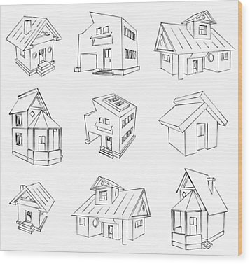 House Sketch Set Wood Print by Ioan Panaite