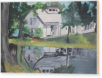 House With Lush Green Surroundings Wood Print by Pallavi Sharma