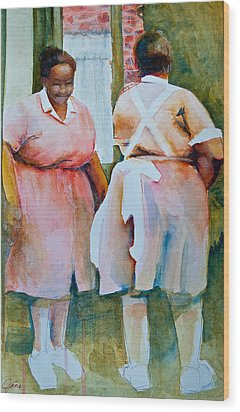 Housekeepers Of Soniat House Wood Print by Jani Freimann