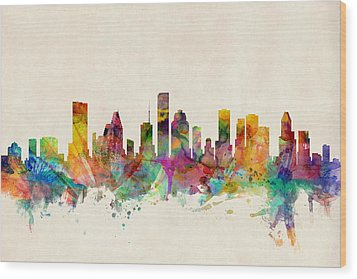 Houston Texas Skyline Wood Print by Michael Tompsett