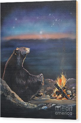 How Grandfather Bear Created The Stars Wood Print by J W Baker