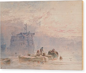 Hulks At Anchor Wood Print by William Cook of Plymouth