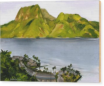 Humid Day In Pago Pago Wood Print by Douglas Simonson