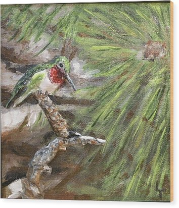 Hummer On A Limb Wood Print by Lorrie T Dunks