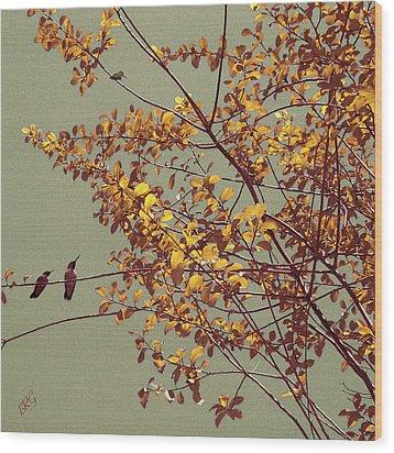 Hummingbirds On Yellow Tree Wood Print by Ben and Raisa Gertsberg