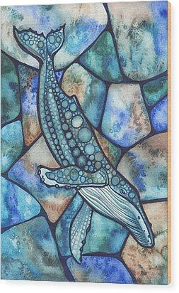 Humpback Whale Wood Print by Tamara Phillips