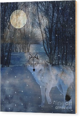 Hunter's Moon Wood Print by Judy Wood