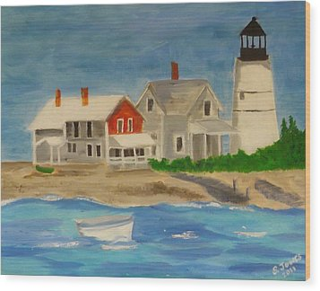 Hyannis Lighthouse Wood Print by Sally Jones