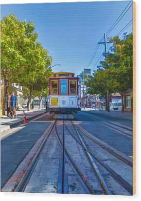Hyde Street Trolley Wood Print by Scott Campbell