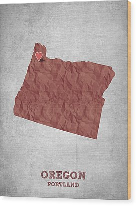 I Love Portland Oregon- Red Wood Print by Aged Pixel
