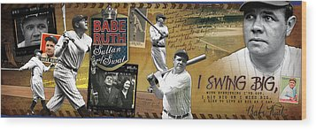 I Swing Big Babe Ruth Wood Print by Retro Images Archive