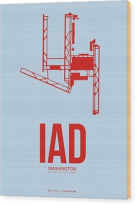 Iad Washington Airport Poster 2 Wood Print by Naxart Studio