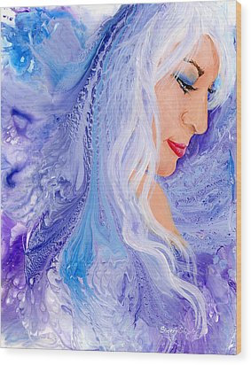 Ice Angel Wood Print by Sherry Shipley