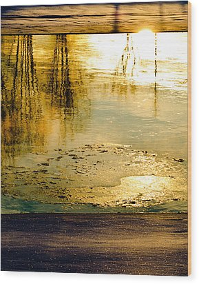 Ice On The River Wood Print by Bob Orsillo