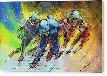 Ice Speed Skating 01 Wood Print by Miki De Goodaboom