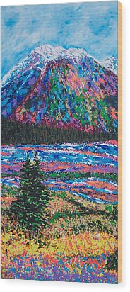 Icefields Alberta Mountain Wood Print by Joyce Sherwin
