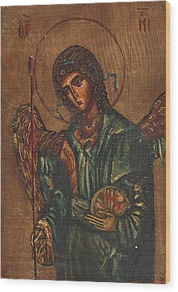 Icon Of Archangel Michael - Painting On The Wood Wood Print by Nenad Cerovic