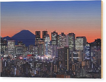 Iconic Mt Fuji With Shinjuku Skyscrapers Wood Print by Duane Walker