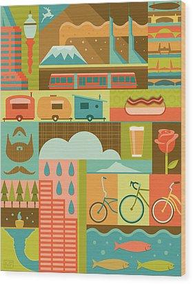 Iconic Portland Wood Print by Mitch Frey
