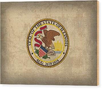 Illinois State Flag Art On Worn Canvas Wood Print by Design Turnpike