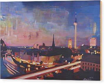 Illuminated Berlin Skyline At Dusk  Wood Print by M Bleichner