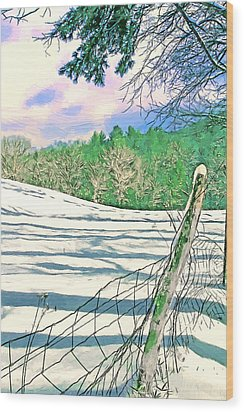 Impressions Of A Snow Covered Farm Wood Print by John Haldane