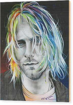 Kurt Cobain - ' In Debt For My Thirst ' Wood Print by Christian Chapman Art