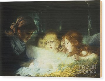 In The Manger Wood Print by Hugo Havenith