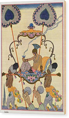 India Wood Print by Georges Barbier