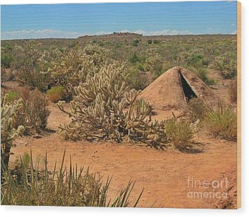 Indian Earth Shelter In The Desert Wood Print by John Malone