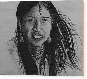 Indian Girl Wood Print by Caroline  Reid