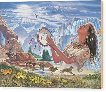 Indian Squaw And The Wolves Wood Print by Steve Crisp