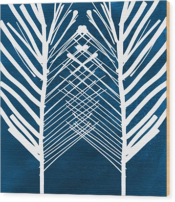 Indigo And White Leaves- Abstract Art Wood Print by Linda Woods