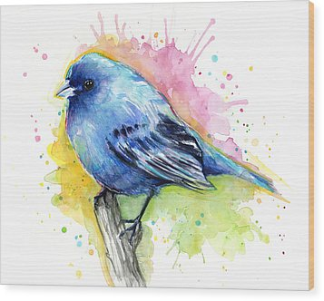Indigo Bunting Blue Bird Watercolor Wood Print by Olga Shvartsur