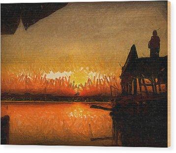 Infinite Oz Sun Set  Wood Print by Teara Na